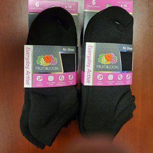 Everyday Active No Shoe Socks 12 Pairs Black
